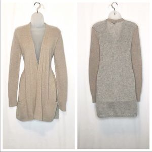 Theory wool mohair open front longer knit cardigan